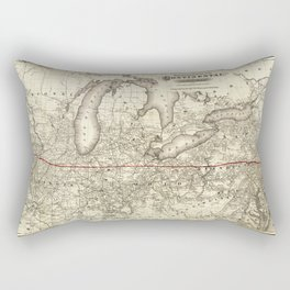 Map of the Continental Railroad Route (1873) Rectangular Pillow