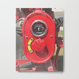 Antique Shiny Red Tractor Metal Print