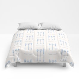 Cute set of spoon, knife and fork illustration Comforters