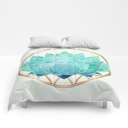 Modern Blue Succulent with Metallic Accents Comforters