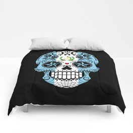 Sugar Skull with Roses and Flag of Guatemala Comforters