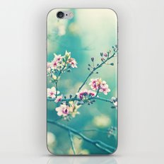 Turquoise Teal Pink Floral Photography, Aqua Flower Nature Art iPhone & iPod Skin