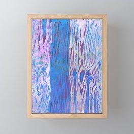 Modern Faux Bois Woodgrain Pattern in Blue Framed Mini Art Print