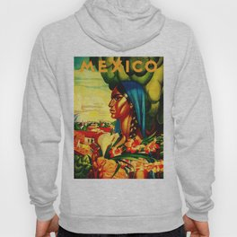 Vintage Mexico Travel - Woman with Flowers Hoody