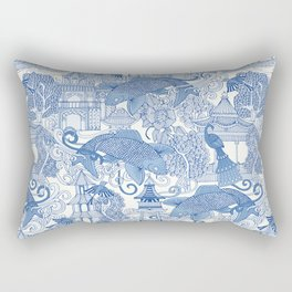 chinoiserie toile blue Rectangular Pillow