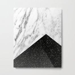 Ebony marble geo Metal Print