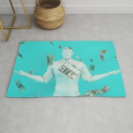 Easy Money and Cash with Happy Businessman Rug