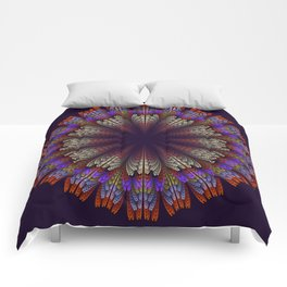 Floral mandala with tribal patterns in the petals Comforters