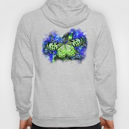 butterfly beautiful strong free splatter watercolor blue green Hoody