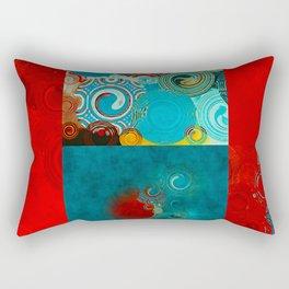 Teal and Red Swirls Rectangular Pillow