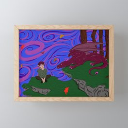 Elf and Dragon Framed Mini Art Print