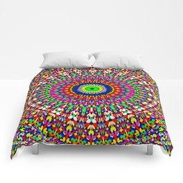 Vibrant Flower Garden Mandala Comforters