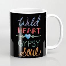 WILD HEART GYPSY SOUL - black background, Hand Lettering Mug
