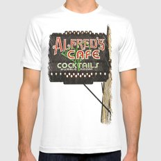 Alfred's Cafe MEDIUM Mens Fitted Tee White
