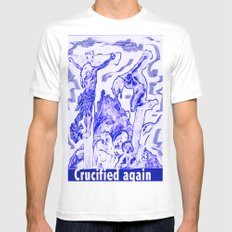 Crucified again White MEDIUM Mens Fitted Tee
