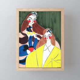 Portrait of the Birds – Delpozo Girls in Fall 2018 Looks no. 2 – Fashion Illustration Framed Mini Art Print