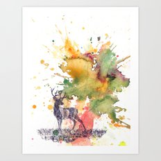Buck Deer in Splash of Color Art Print