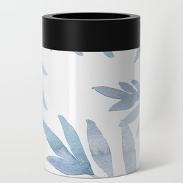 Muted Blue Palm Leaves Can Cooler