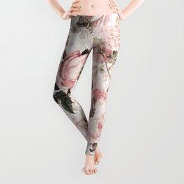 Vintage & Shabby Chic - Sepia Pink Roses  Leggings