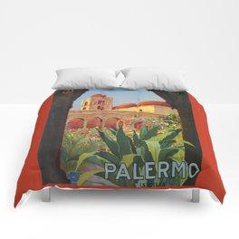 vintage 1920s Palermo Sicily Italian travel ad Comforters