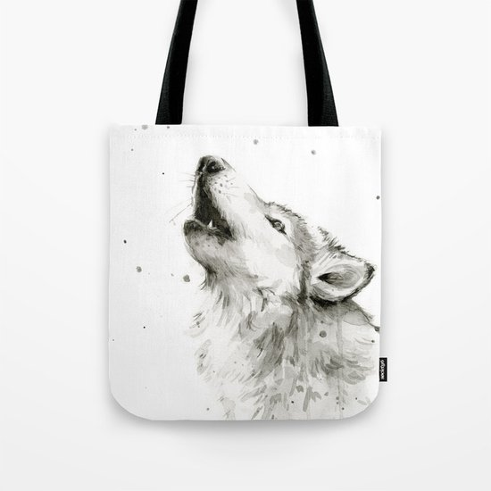 Wolf Howling Watercolor Animals Wildlife Painting Animal Portrait Tote Bag