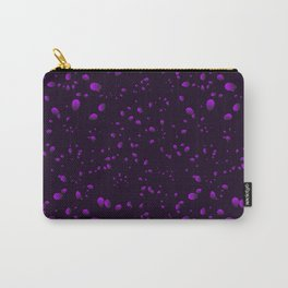 Blueberry iridescent drops and petals on a black background in nacre. Carry-All Pouch