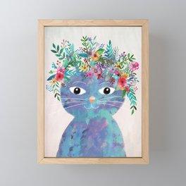 Flower cat II Framed Mini Art Print