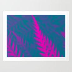 Nature Pattern # 2 - Fern (Blue Pink) Art Print