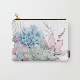 Pretty Pastel Succulents Carry-All Pouch