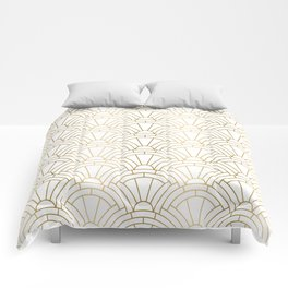 Gold and white geometric Art Deco pattern Comforters