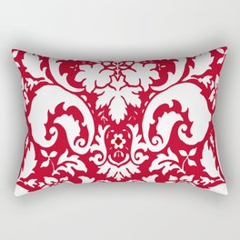 Paisley Damask Red and White Pattern Rectangular Pillow