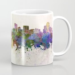 Grand Rapids skyline in watercolor background Coffee Mug