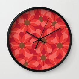 Vintage 1970's Pink Spring Flowers Pattern Wall Clock
