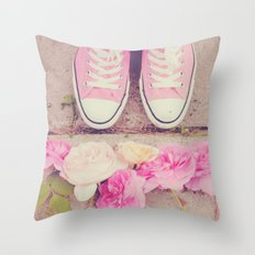 English Roses And Pink Chucks Throw Pillow