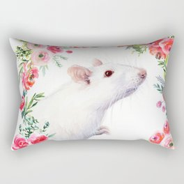 White Rat with Flowers Watercolor Floral Pattern Animal Rectangular Pillow