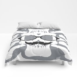 old funny skull art portrait in black and white Comforters