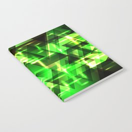 Spring gentle green horizontal strict stripes of sparkling grass triangles. Notebook