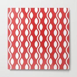 Retro Ogee Pattern 454 Red Metal Print