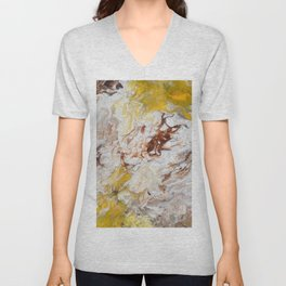 Brown, White and Yellow Abstract Art Unisex V-Neck
