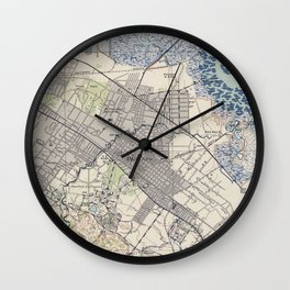 Old Map of Palo Alto & Silicon Valley CA (1943) Wall Clock