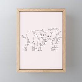 Elephants simple Illustration Framed Mini Art Print