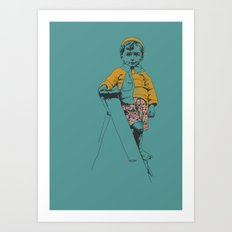the ladder Boy Art Print