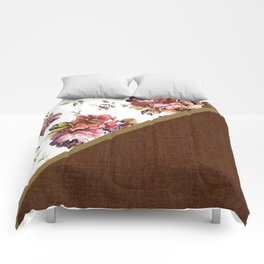 Fabric Roses Square Cottage Design with Red Accent Comforters