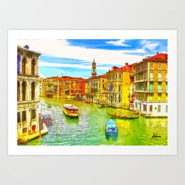 Awesome Venice Italy, Canal View painting illustration Art Print