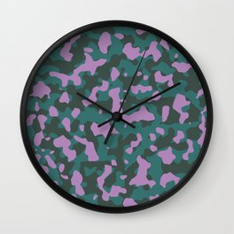 African Jungle Violet Camouflage Wall Clock