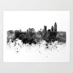 Mobile skyline in black watercolor Art Print