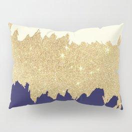 Navy blue ivory faux gold glitter brushstrokes Pillow Sham