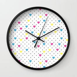 Pin Point Hearts CMYK Wall Clock