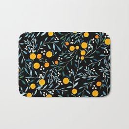 Oranges Black Bath Mat