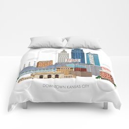 Kansas City Skyline Comforters